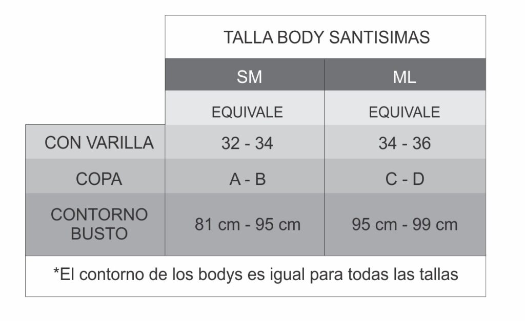 Guía de Talla Bodys Santísimas